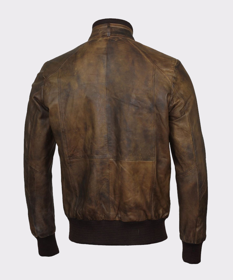 Mens Leather Jacket Sheepskin Biker Brown Retro Cafe Racer Motorcycle Moto Racer