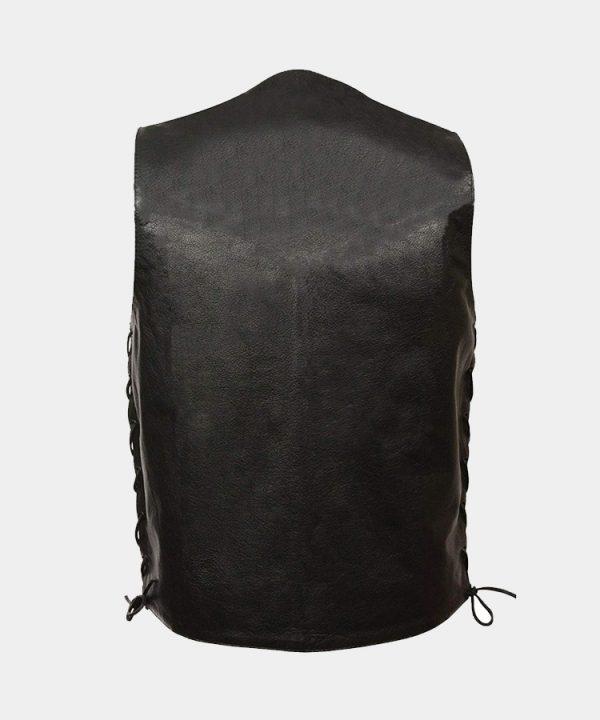 BLACK-Men's concealed carry single back panel classic biker leather vest