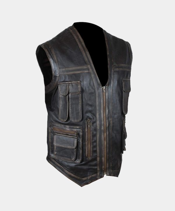Distressed Genuine Leather Jurassic World Chris Pratt Owen Grady Vest