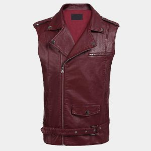 Leather Motorcycle Vest Zipper Slim Fit Biker Waistcoat with Gun Pocket