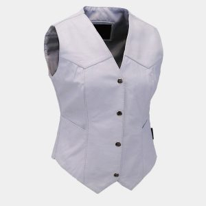 WHITE WOMEN LEATHER VESTS
