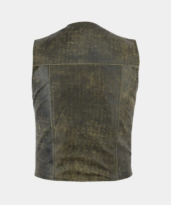 Men's Fashion Distressed Real Leather Biker Vest