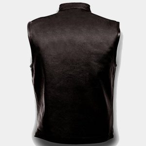 Mens Leather Club Style Vest, Concealed Gun Pockets