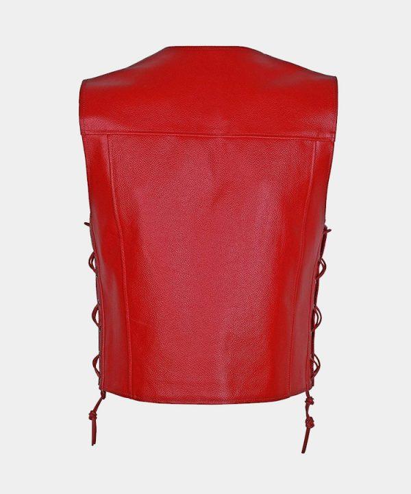 Men`s Motorcycle Biker Red Vest Genuine Cowhide Leather Black