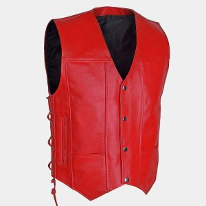 Men`s Motorcycle Biker Red Vest Genuine Cowhide Leather Black