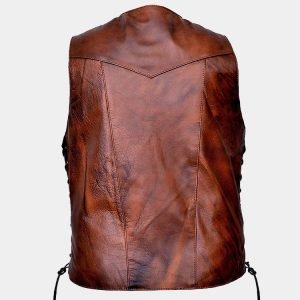Men's Ten Pocket CC Retro Brown Buffalo Hide Leather Vest