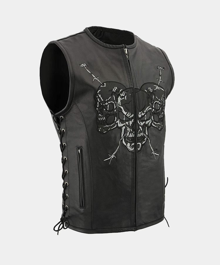 8d9231f6f65d Men s Zipper Front Side Lace Leather Vest w-Reflective Skulls