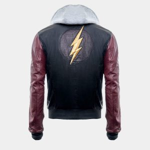 Super Hero Flash Hoodie Black Leather Mens Jacket