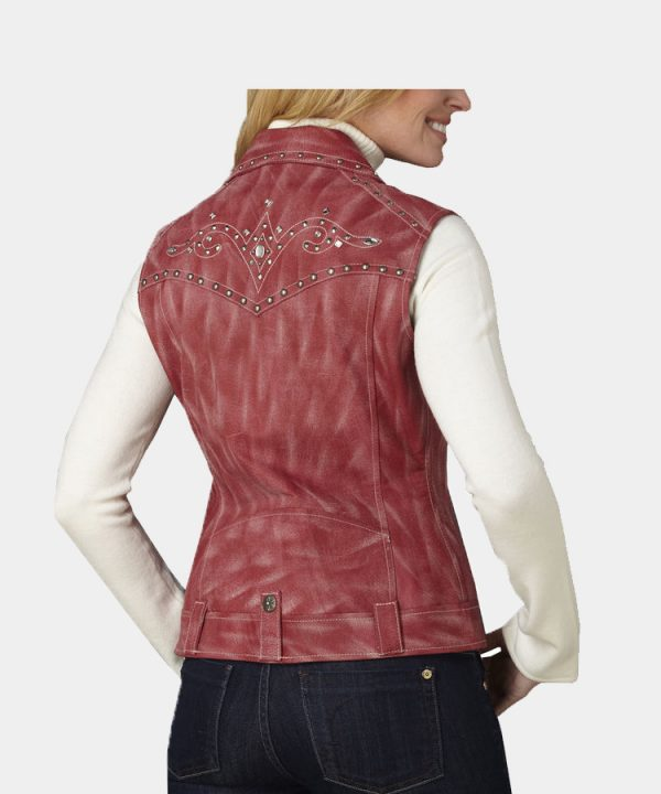 Women's Distressed Red Studded Leather Moto Vest