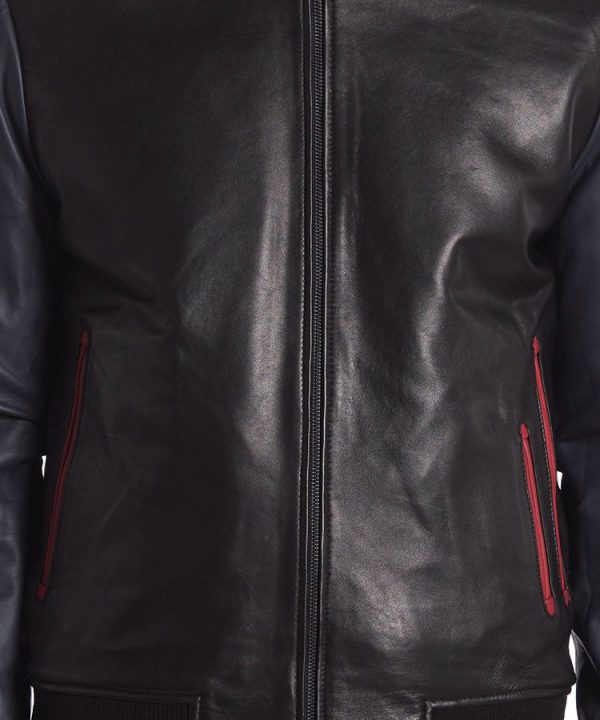 Genuine Shearling Collar Lamb Leather Reversible Varsity Jacket