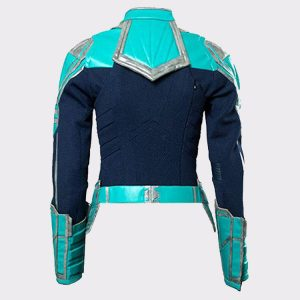 Captain Marvel Ladies Faux Real Leather Jacket Back