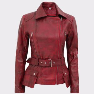Celebrity Victoria Burgundy Ladies Leather Motorbike Jacket