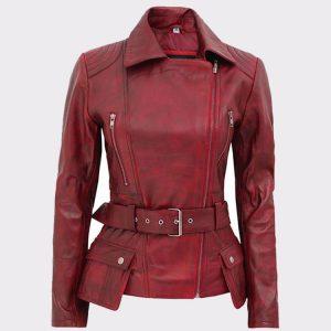 Celebrity Victoria Burgundy Ladies Leather Motorbike Jacket