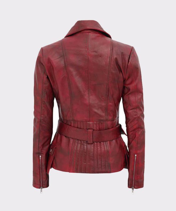 Celebrity Victoria Burgundy Ladies Leather Motorbike Jacket-back