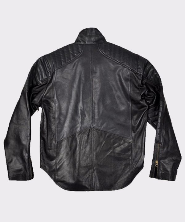 Christian Bale Batman Begins 2005 Fashion Leather Jacket back