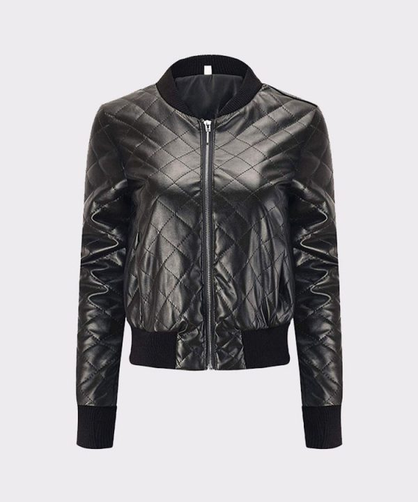 Classic Diamond Quilted Ladies Faux Leather Bomber Motorcycle Jacket