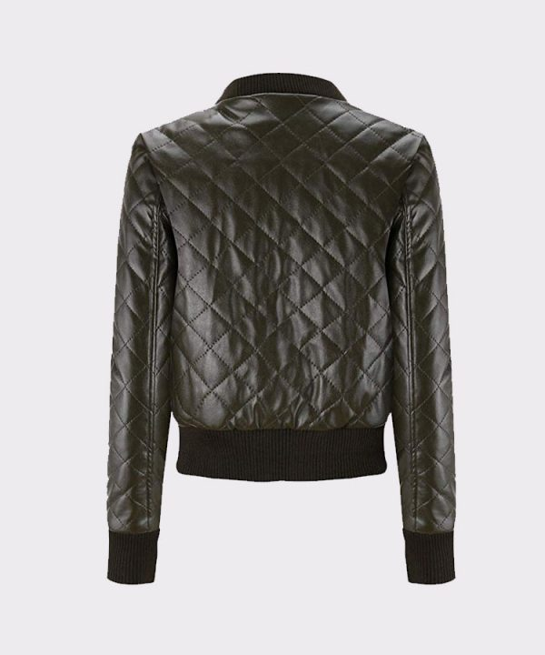 Classic Diamond Quilted Ladies Faux Leather Bomber Motorcycle Jacket Back