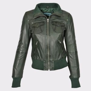 Classic Ladies short style sheep Leather Bomber Jacket Olive