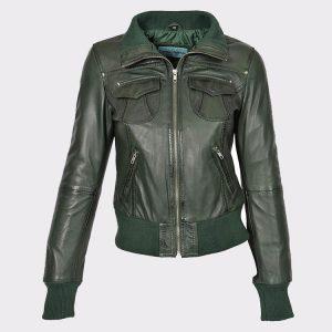 Classic Ladies short style sheep Leather Bomber Jacket Olive
