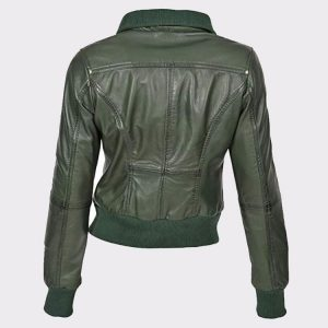 Classic Ladies short style sheep Leather Bomber Jacket Olive1