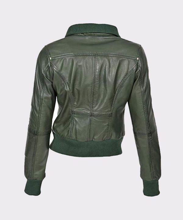 Classic Ladies short style sheep Leather Bomber Jacket Olive1