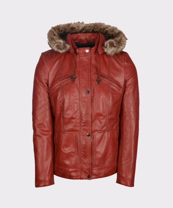 Hooded Women Winter Stylish Leather Red Coat