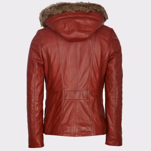 Hooded Women Winter Stylish Leather Red Coat1