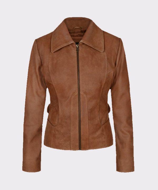 Jennifer Lopez Gigli Ladies Amazing Leather Brown Jacket
