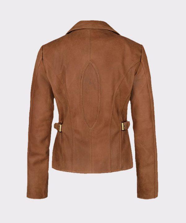 Jennifer Lopez Gigli Ladies Amazing Leather Brown Jacket back