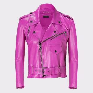 Jessica Alba Celebrity Pink Ladies Leather Jacket