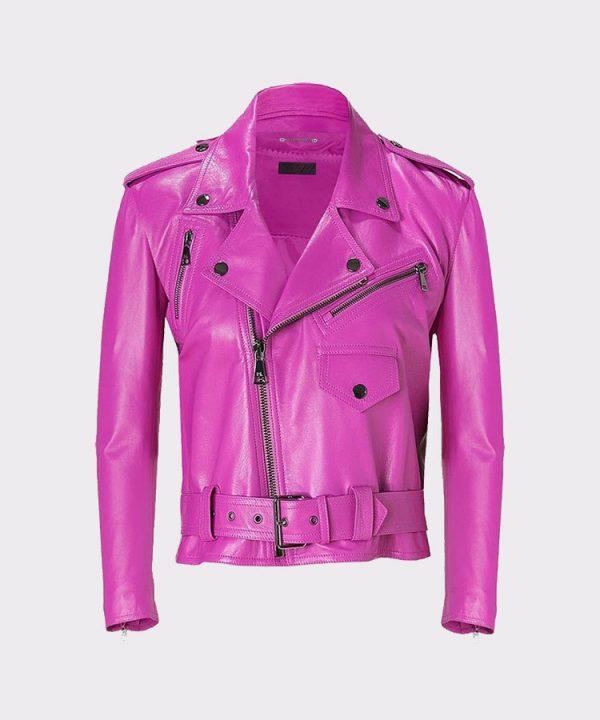 Jessica Alba Celebrity Pink Ladies Leather Jacket