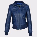 Ladies Bomber Real Leather Jacket Short Slim Fit Casual Blue