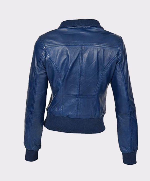 Ladies Bomber Real Leather Jacket Short Slim Fit Casual Blue1