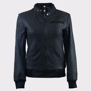 Ladies Distressed Black Fashion Leather Bomber Pilot Jacket