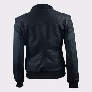 Ladies Distressed Black Fashion Leather Bomber Pilot Jacket1