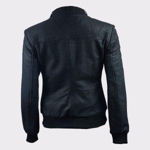 Ladies Distressed Black Fashion Leather Bomber Pilot Jacket1