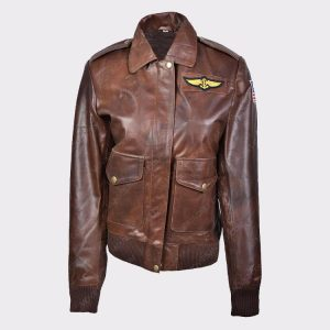 Ladies Flight Captain Marvel Brie Larson Genuine Cowhide Bomber Jacket 1