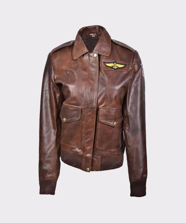 Ladies Flight Captain Marvel Brie Larson Genuine Cowhide Bomber Jacket 1