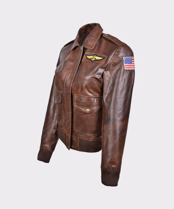 Ladies Flight Captain Marvel Brie Larson Genuine Cowhide Bomber Jacket 2