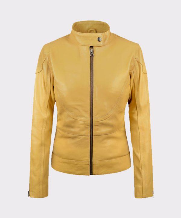 Ladies Megan Fox Teenage Mutant Ninja Turtles Yellow Leather Jacket
