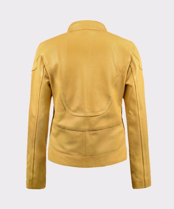 Ladies Megan Fox Teenage Mutant Ninja Turtles Yellow Leather Jacket Back