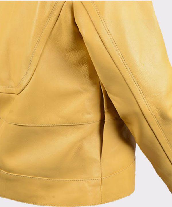 Ladies Megan Fox Teenage Mutant Ninja Turtles Yellow Leather Jacket1