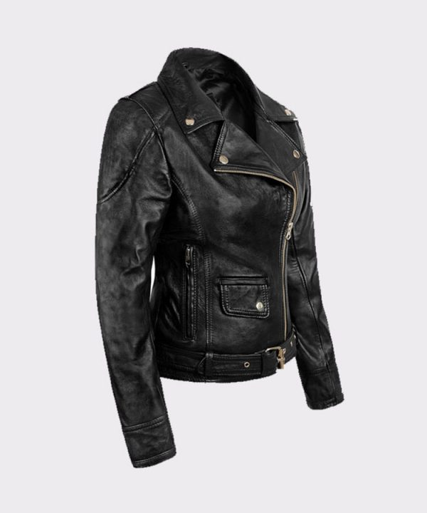 Ladies Sarah Connor Terminator Genisys Leather Fashion Biker Jacket2