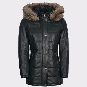 Padded Ladies luxurious Leather Winter Navy Coat
