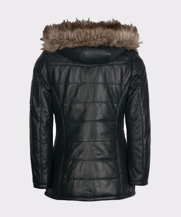 Padded Ladies luxurious Leather Winter Navy Coat1