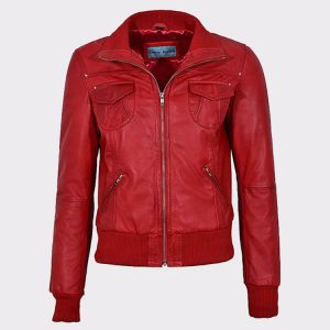 Red Ladies Bomber Biker & Motorcycle Sheep Leather Jacket