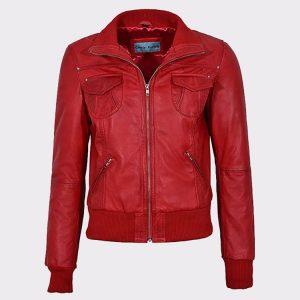 Red Ladies Bomber Biker & Motorcycle Sheep Leather Jacket