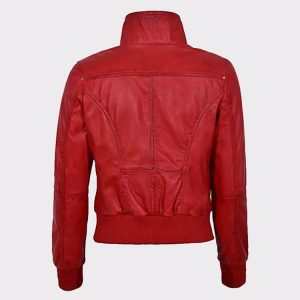 Red Ladies Bomber Biker & Motorcycle Sheep Leather Jacket1