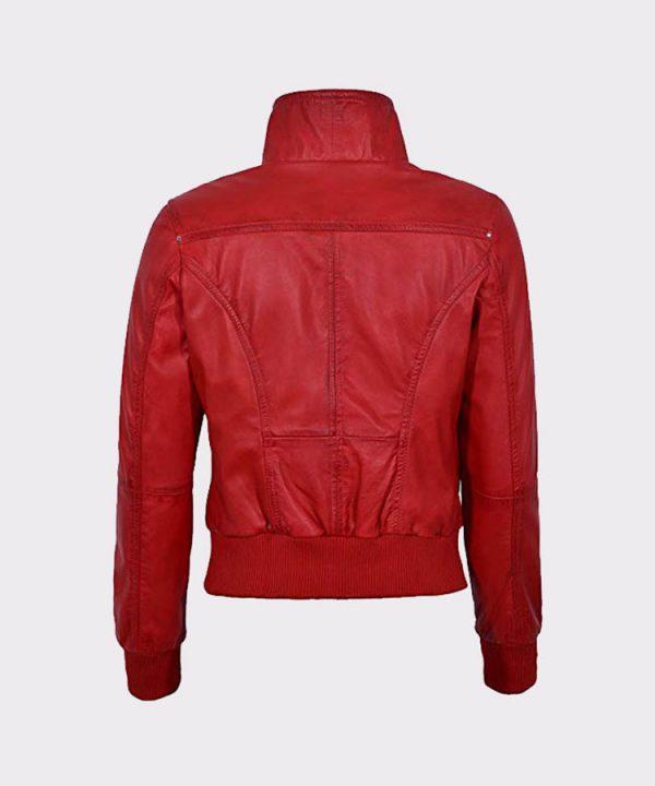 Red Ladies Bomber Biker & Motorcycle Sheep Leather Jacket1