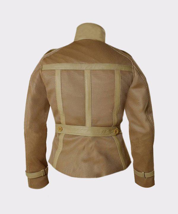 Scarlett Johansson Double breasted style Black Widow Leather Jacket back